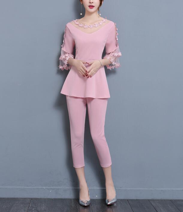 Large size two-piece sets trumpet sleeves lace T-shirt seven pants suit fat sister women's new fashion high quality elegant plus
