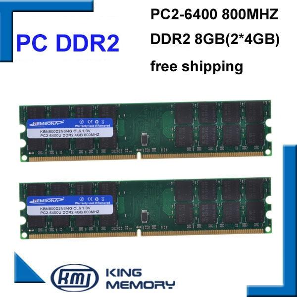 KEMBONA شحن مجاني RAM سطح المكتب الكمبيوتر DDR2 800Mhz 8GB (عدة 2x4 gb) ddr2 8g عدة PC2-6400 فقط للوحة الأم A-M-D