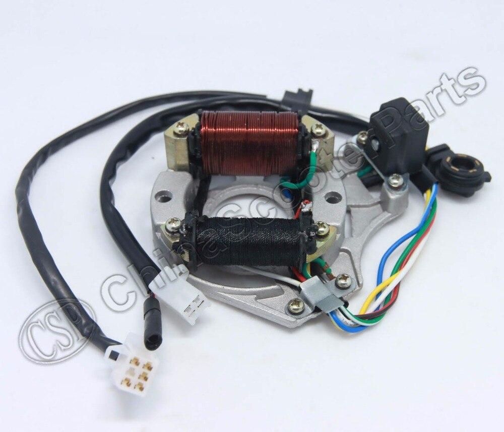 Magnéto plaque Stator   Bobine dallumage 2 pôles AC 5 fils, lecture dengrenages 50CC 70CC 90CC 110CC 125CC Lifan ZongShen Kazuma Dirt Bike