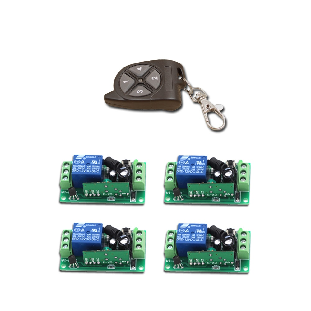 Top Quality RF Wireless Remote Control Switch 1Ch Intelligent Family System 4XReceiver+1XWaterproof Transmitter with 4Buttons