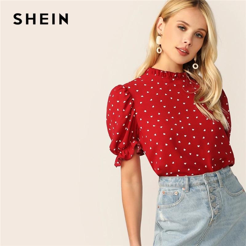 Женская блузка с коротким рукавом и воротником-стойкой, летняя, красная