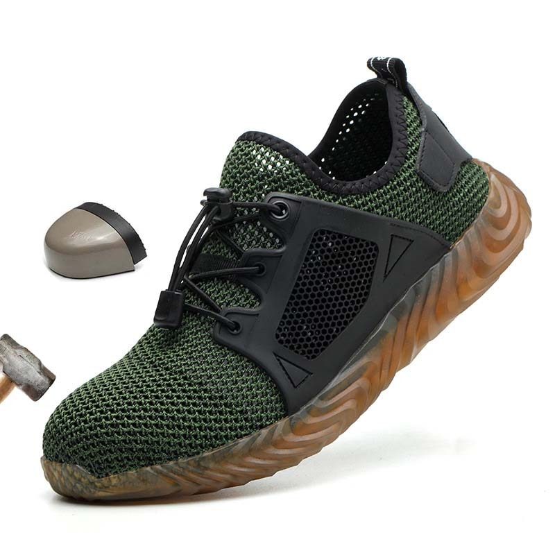 Male Shoes Breathable Mesh Safety Shoes Men Light Sneaker Indestructible Steel Toe Soft Anti-piercin