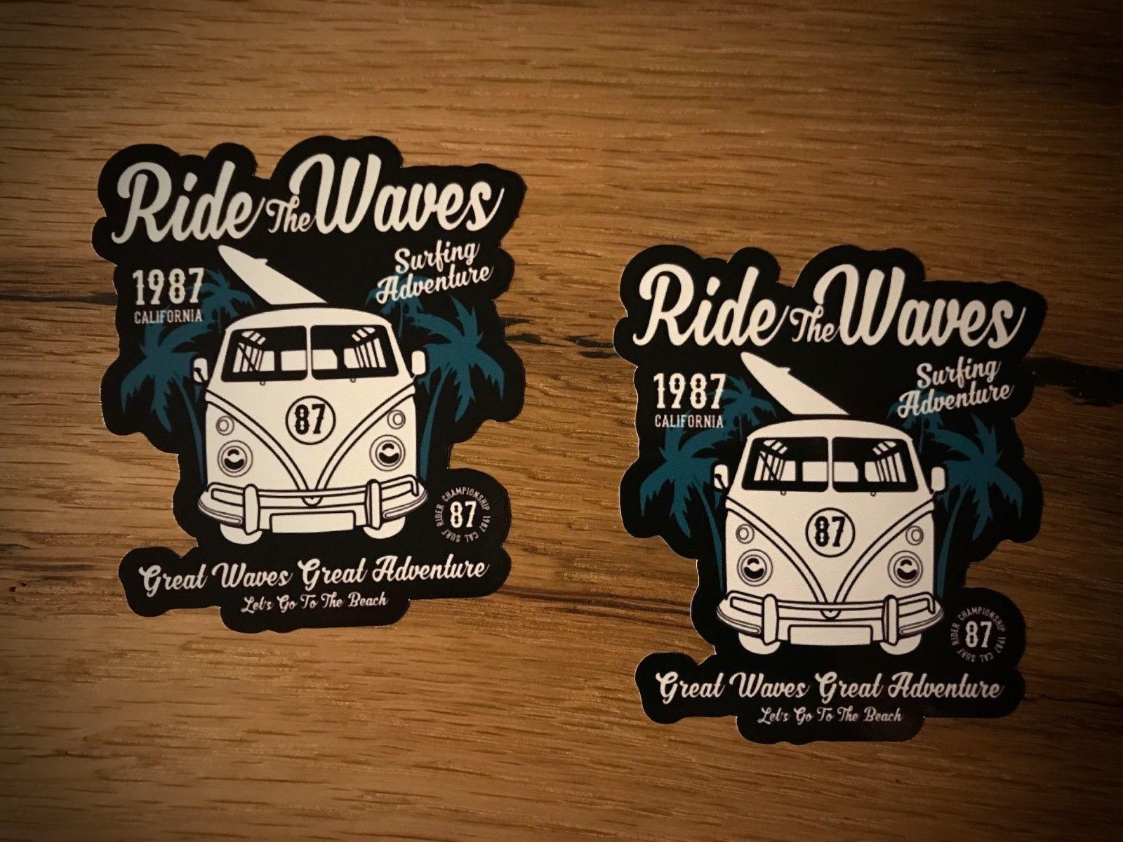 2x Surf etiqueta Bulli autobús de playa verano Surf Hang Loose sol #279