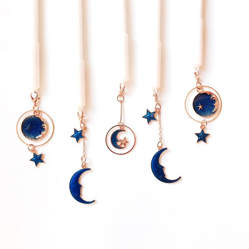 1 Pcs Nette Kawaii Starry Sky Sterne Mond Anhänger Gel Stift 0,38mm Schwarz Kugelschreiber Schule Büro Schriftlich Versorgung kawai Schreibwaren Geschenk