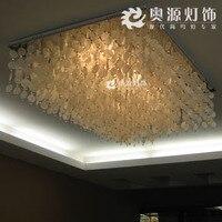 Mediterranean Pastoral Rectangular Led Round shells Crystal Ceiling Light For Living Room