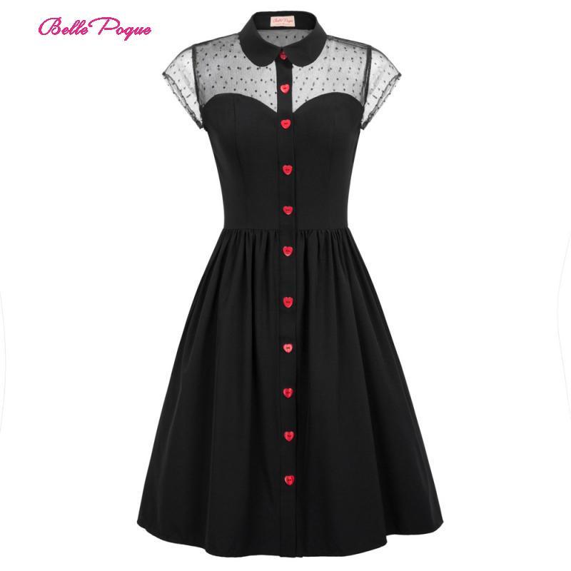 Belle Poque Retro Vintage Fashion Women Cap Sleeve Sheer Mesh See-through Lapel Collar Ladies Button Placket Flared A-Line Dress