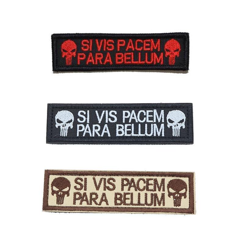 Каратель Скелет SI VIS PACEM одежда Peace Тактический значок для рюкзака Волшебная вышитая нарукавная повязка 2,6*9,5 см