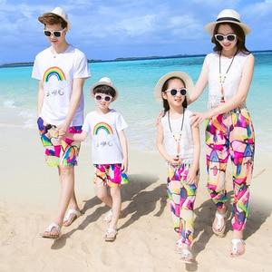 Summer Family Matching Outfits Dad Son Sets Vacation Short Sleeve T-shirt+Shorts 2PCS Suit Mom Girls Vest Trousers Sport Clothes