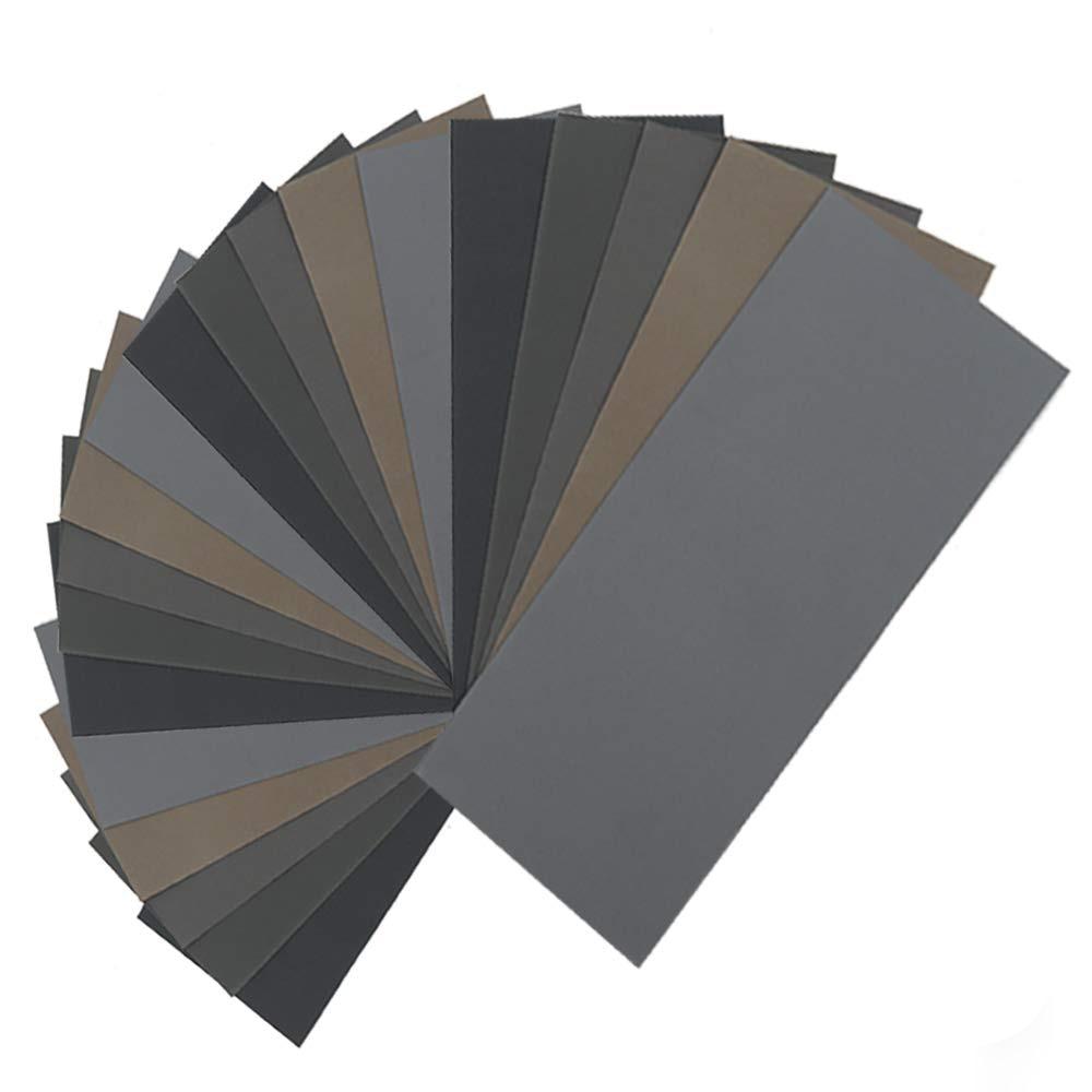 Carta vetrata a secco da 20 pezzi, assortimento di fogli di carta vetrata a grana alta 1000/2000/3000/5000/7000 per la lucidatura di legno e metalli