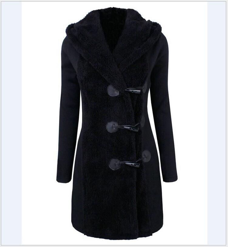 2017 otoño y el invierno nuevo delgado de gran tamaño cuerno botón encapuchado chaqueta de lana manga larga lana mezclas capa de las mujeres kaban HJ16