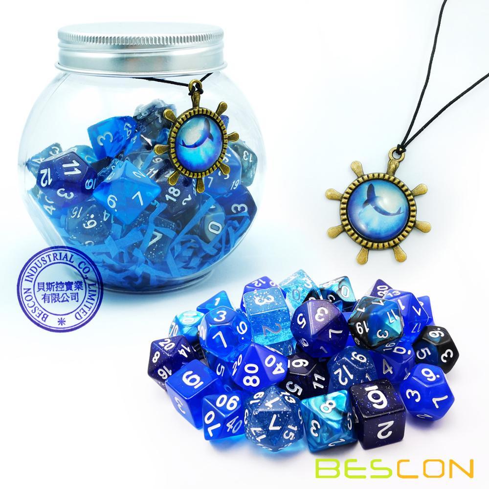 Bescon набор костей для ролевых игр 35 шт Океанский синий набор, DND ролевые игры игральные кости 5x7шт