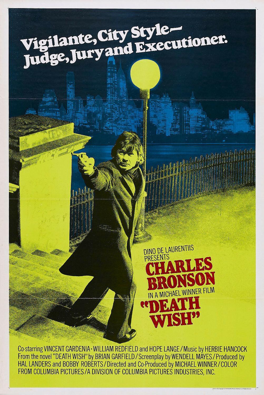 N1421 DEATH WISH Movie Charles Bronson Version Wall Sticker Silk Fabric Poster Art Indoor Decor Bright