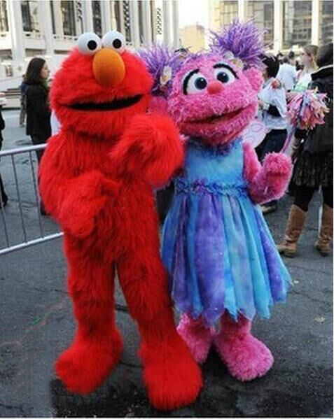 Trajes de Mascota de Elmo rojo de Barrio Sésamo, disfraces largos de piel de monstruo rojo mascota de Halloween s de dibujos animados