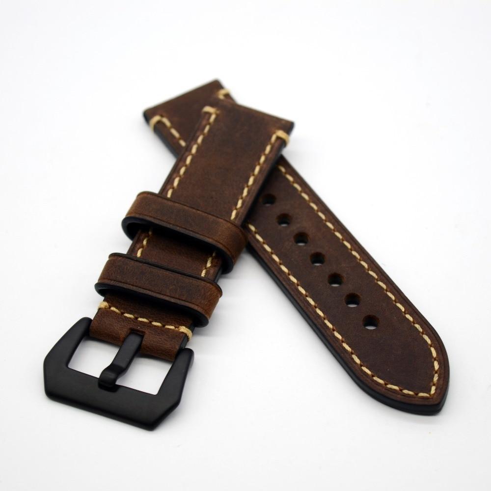 Correa de reloj hecha a mano de alta calidad Hebilla negra s correas y Hebilla negra 20mm 22mm 24mm 26mm