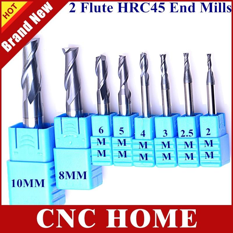 8 Uds HRC45 2 2,5 3 4 5 6mm 8mm 10 mm 2 flautas carburo de tungsteno juego de cortadoras de fresado CNC fresas de extremo para acero general