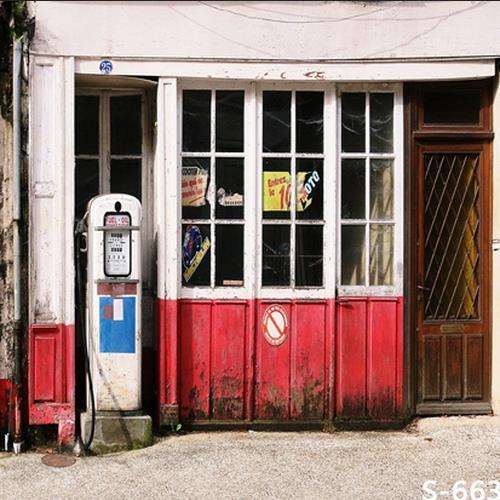 Fondo de fiesta de alta calidad de impresión por ordenador antiguo de madera ventana puerta cabaña gasolinera patio telón de fondo