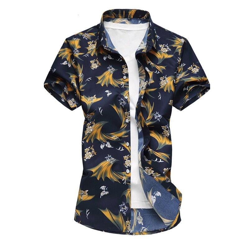 Camisas hawaianas de manga corta de verano para hombre, camisas florales informales de algodón de talla grande 7XL 2018, nueva ropa de moda para hombre