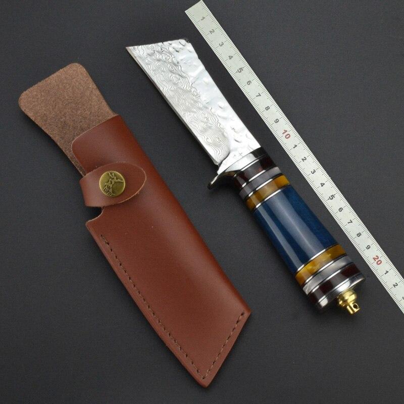 Cuchillo de caza de hoja fija hecho a mano de acero damasco con mango de hueso y resina con Funda de cuero herramienta táctica de colección