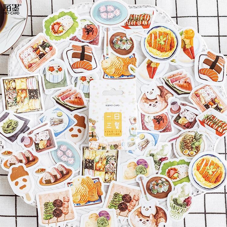 45-pz-pacco-yummy-cibo-estero-decorativo-della-cancelleria-adesivi-scrapbooking-fai-da-te-diario-album-di-etichetta-bastone