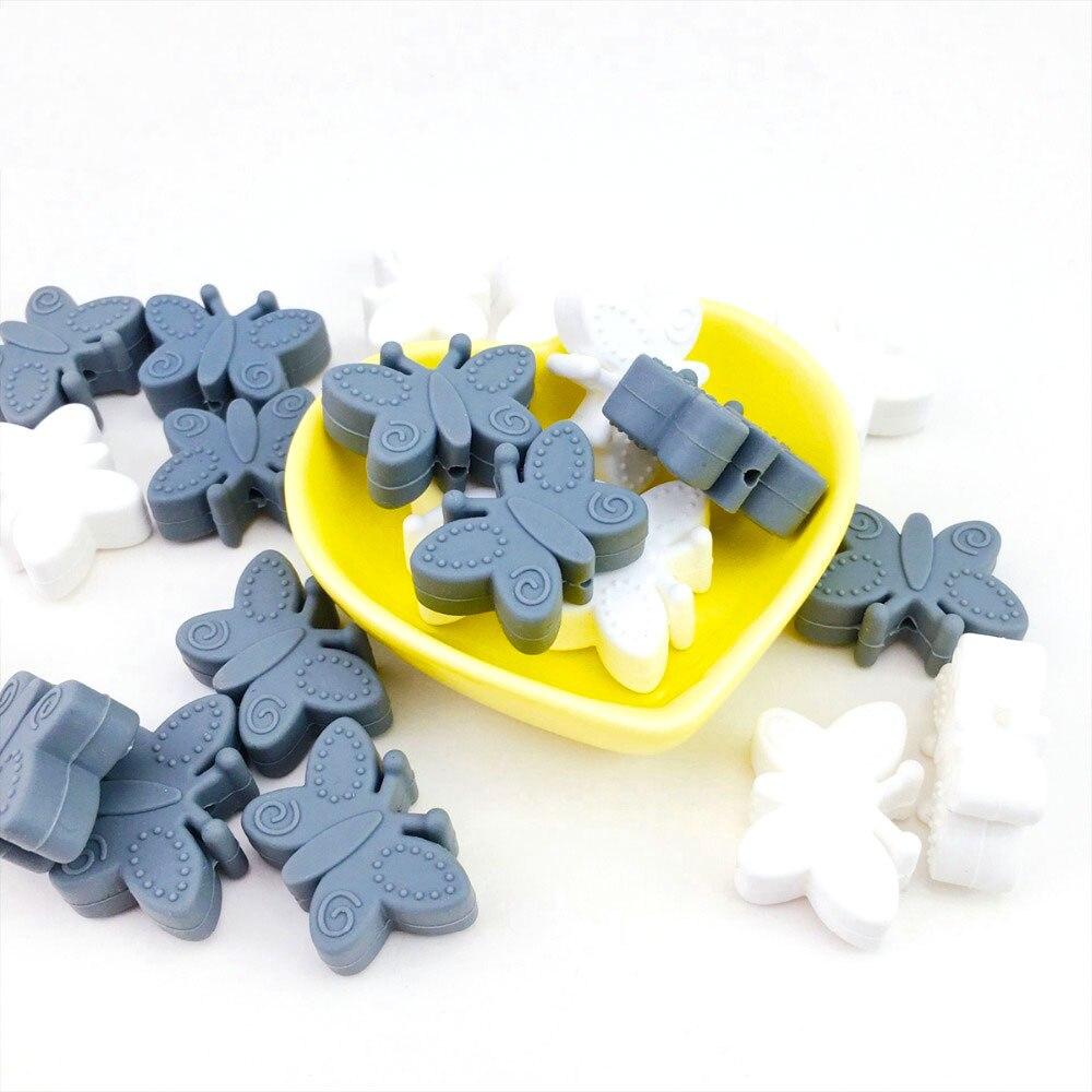 10 cuentas de silicona Mini cuentas de silicona mariposa cuentas de dentición BPA gratis para cuentas de dentición joyería DIY hacer roedores colgantes Juguetes