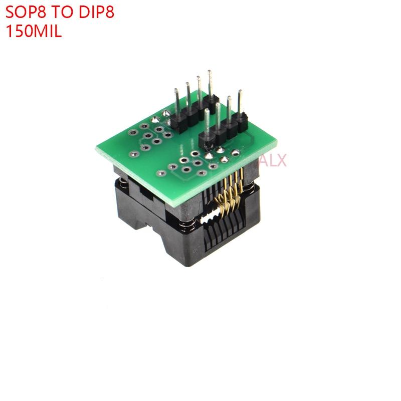 5 uds SOIC8 SOP8 a DIP8 adaptador/programador ez hembra 150MIL módulo convertidor de toma de prueba chip IC 24C02 24C08 24C32 EEPROM
