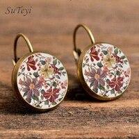 suteyi charm henna yoga amulet ladies earrings round glass cabochon earings jewelry bohemian mandala earrings for women