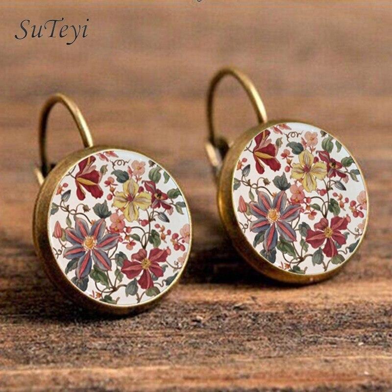 Suteyi charme henna yoga amuleto senhoras brincos redondos cabochão de vidro brincos jóias mandala símbolo bohemia para mulher