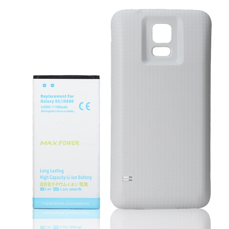 Batterie de remplacement haute capacité 7000mAh pour Samsung Galaxy S5 i9600 Li-ion batterie étendue + housse blanche