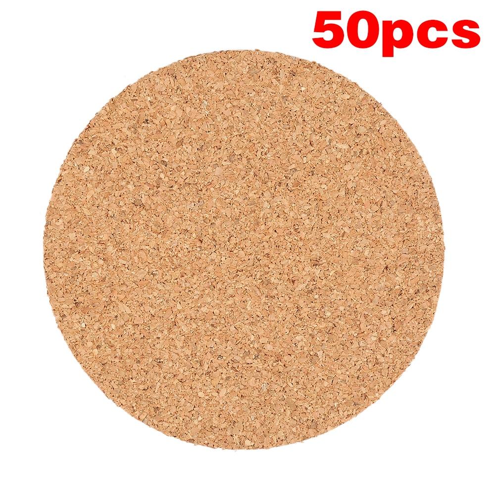 New JosheLive 50pcs Plain Round Wood Drink Coffee Cup Mat Heat Resistant Cork Coaster Mat Table Decor wholesale