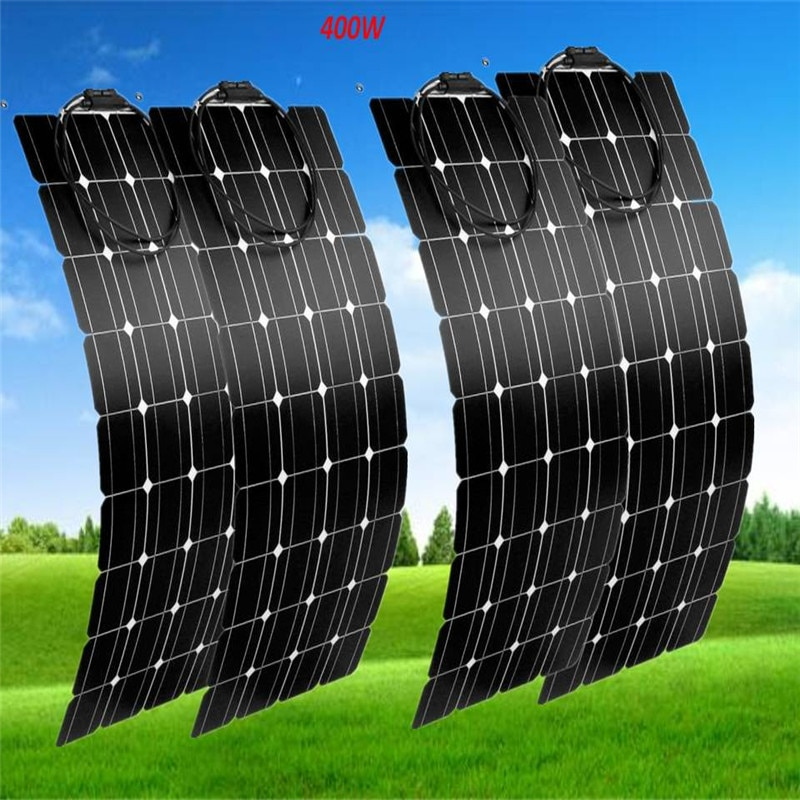 4 pcs 100w Solar Panel semi flexible 400W solar system Photovoltaic solar panel 12v battery/yacht/RV/car/boat EU/USA Stock