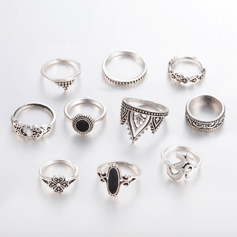 Boho, joia de trevo, lua, triângulo, coroa, conjuntos para mulheres, vintage, anel midi, festa punk, 10 pçs/set presente