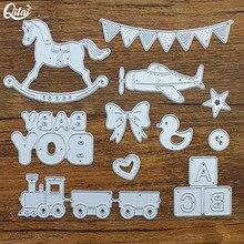 QITAI-troqueles de corte de Metal para niño y bebé, troqueles de caballo DIY para álbum de recortes, decoración creativa para el hogar, manualidades hechas a mano MD134, 11 unids/paquete