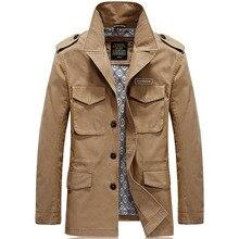 Marque automne Trench veste hommes vestes et manteaux solide décontracté coton hommes coupe-vent veste homme manteau mâle 4XL
