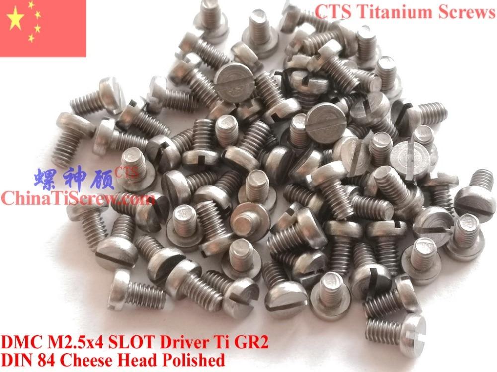 DIN 84 tornillo de titanio M2.5x4 M2.5x5 M2.5x6 M2.5x8 M2.5x10 M2.5x12 M2.5x16 M2.5x20 cabeza ranura conductor Ti GR2 pulido 25 uds