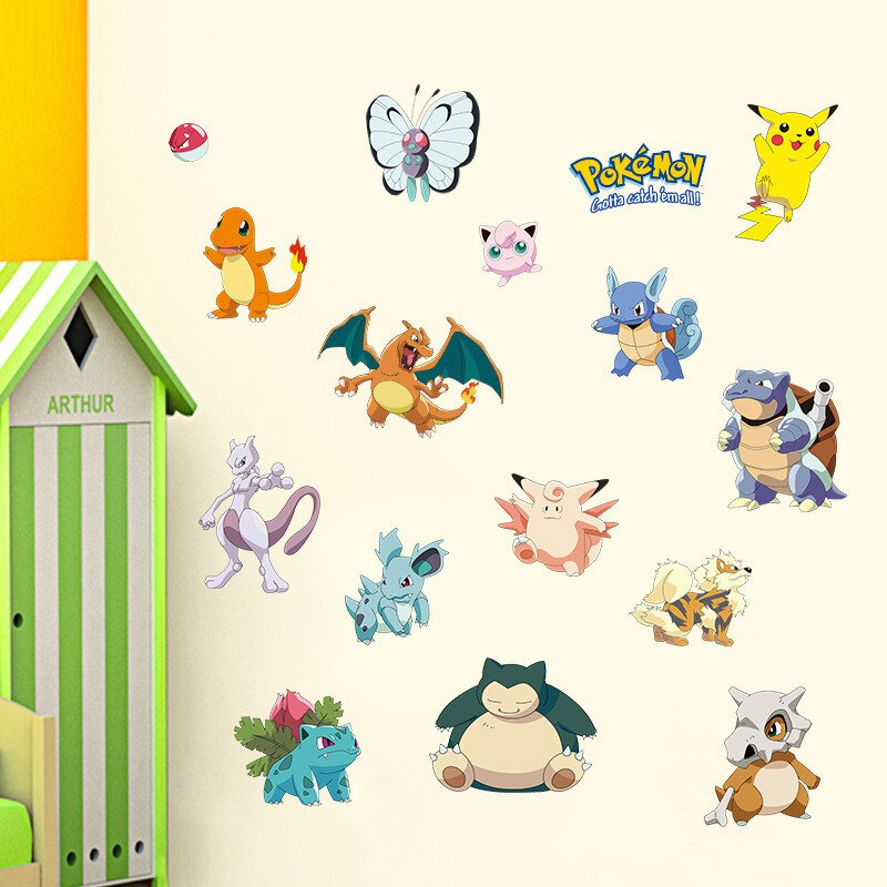 Pocket Monster Pokemon наклейки на стену для детской комнаты украшение Пикачу анимационный постер Сделай Сам C