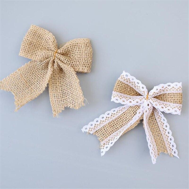 Vintage encaje de arpillera de Yute natural goma de pelo con lazo decoración para fiesta de boda caja de regalo embalaje DIY decoración Bowknot