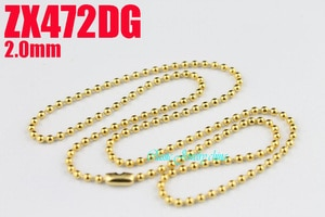 golden color 2mm stainless steel necklace bead chain beaded necklace ball chain 20pcs  fashion jewelry ZX472DG