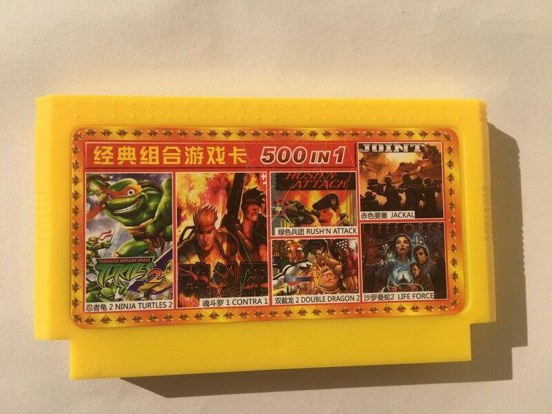 Juego Cartrridge Jackal Saint Kage 500 en 1 8 bits con tarjeta amarilla Real para Nintendo FC