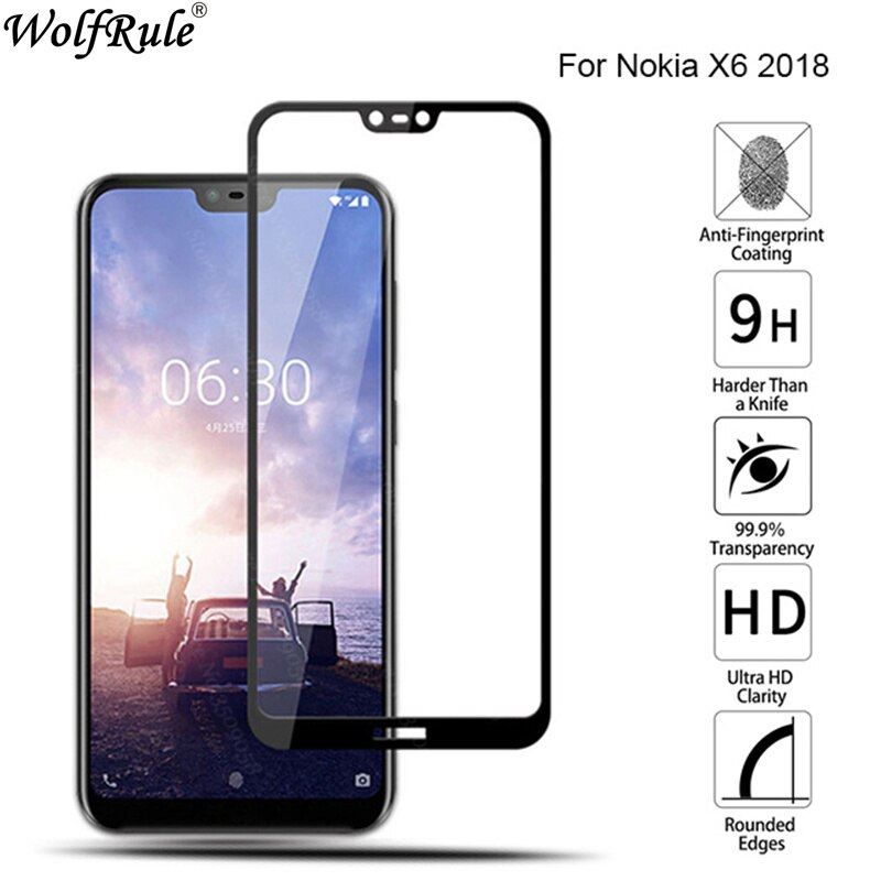 Full Cover Tempered Glass For Nokia X6 Screen Protector Nokia 6.1 Plus Glass 9H Protective Film For