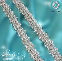 10 yards bridal beaded rhinestone applique crystal trim iron on for wedding dress sash wdd0407