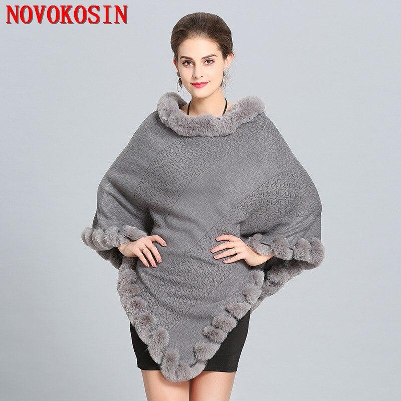 Kobiety peleryny solidna Poncho 2018 zima Faux futra lisa się Street wear dzianiny trójkąt futro sweter sweter w dużym rozmiarze płaszcz futro szyi