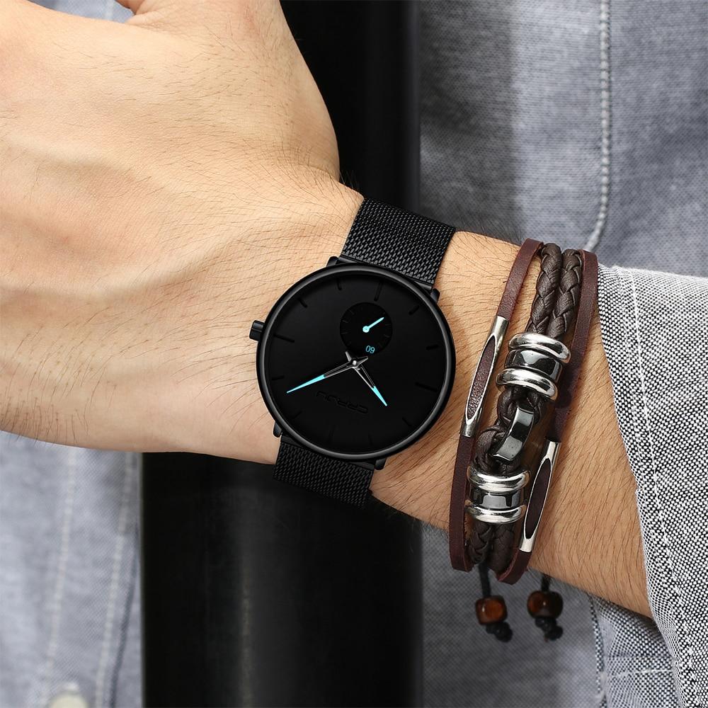 Crrju Fashion Mens Watches Top Brand Luxury Quartz Watch Men Casual Slim Mesh Steel Waterproof Sport Watch Relogio Masculino Easymartz