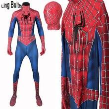 Ling Bultez más Raimi disfraz de Spiderman con alivio redes 3D telarañas Spiderman traje de adultos para hombres Spiderman de Raimi Cosplay