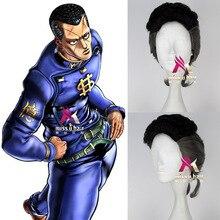 Janpan Ainime jojojos BIZARRE ADVENTURE Nijimura Okuyasu cosplay perruque Nijimura Okuyasu gris mélange noir cheveux perruque costumes