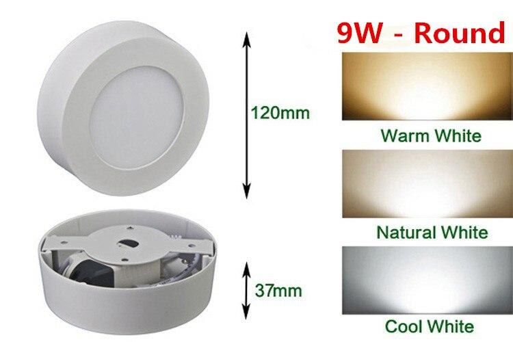9W LED panel de luz led redondo luz montados en la superficie luz de techo para empotrar 2835SMD AC85-265V iluminación Dimmable 10 Uds