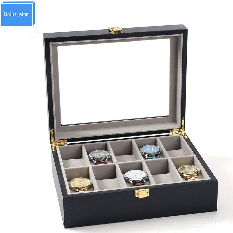 Organizador do Armazenamento De madeira 10 Slots Caso o Mostrador do Relógio Caixa de Relógio Cereja Grande Tampo de Vidro Gabinete Coleção Com Fivela de Metal Presentes