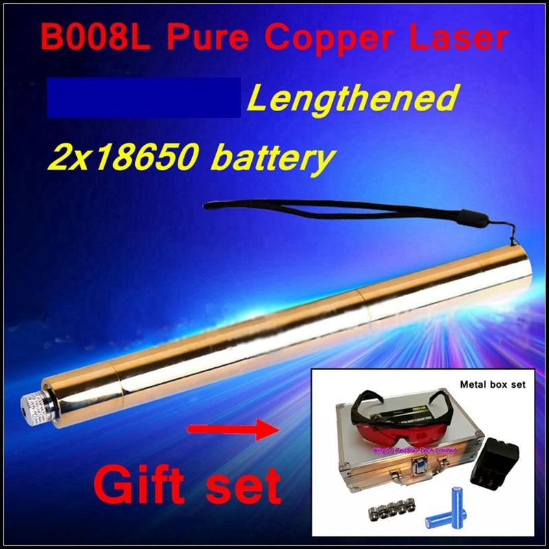 [ReadStar]RedStar tubo alargado estilo B008L alta quemadura puntero láser azul pluma láser caja de metal Conjunto 2x18650 batería