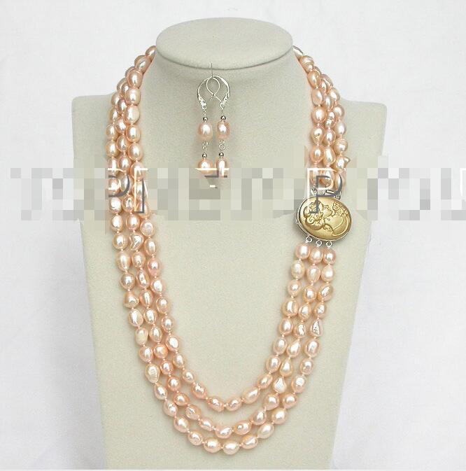 """Envío gratis gran oferta joyería nupcial para mujer> 20 """"3 filas 12mm perlas barrocas rosadas naturales collar cameo E1443"""
