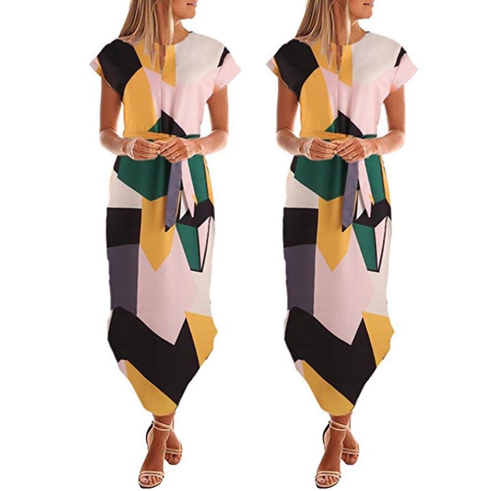 Casual plus size print Women Bohemian printing Leaves Spring Maxi Long Evening Party Dress Beach Sundress Summer Dress W5.15