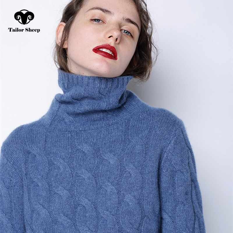Свитер женский, толстый, с высоким воротом, 100% чистый кашемировый свитер женский, трикотажный, облегающий, теплый